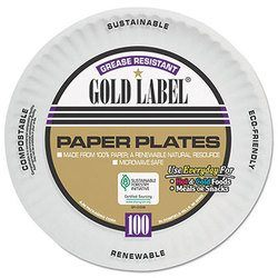 AJM Packaging, CP9GOAWH, Dinnerware Plate, Paper, White, 9 in