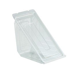 Anchor Packaging, Deliview®, 4511019, Sandwich Wedge, Hinged Lid, RPET-Recycled Post-Consumer Polyethylene, Clear