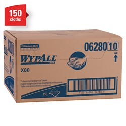 Wypall X80 Foodservice Towels (06280) Extended Use Cloths with Anti-Microbial Treatment, White, 1 Box, 150 Sheets