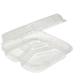 Pactiv, SmartLock®, YCI811230000, Lid 3-Compartment Container, Hinged Lid, High Impact Polystyrene, Clear