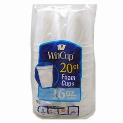 Wincup, 240H, Drink Cup, 16 oz, Foam, White, 12 Pack