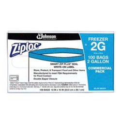 S C Johnson, Ziploc®, 31600120, Freezer Bag, 13 x 15 in, 2 gal, 100 Carton per Case