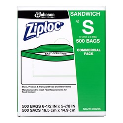 S C Johnson, Ziploc®, 31600121, Sandwich Bag, 6-1/2 x 5-7/8 in, 500 Carton per Case