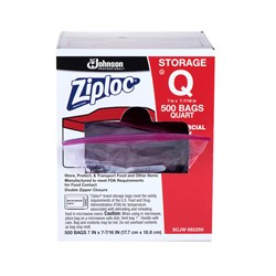 S C Johnson, Ziploc®, 31600123, Storage Bag, 7 x 7-7/16 in, 1 qt, 500 Carton per Case