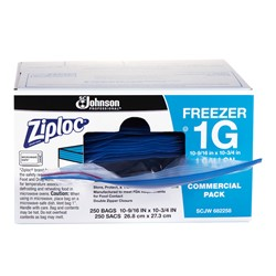 S C Johnson, Ziploc®, 31600125, Freezer Bag, 10-9/16 x 10-3/4 in, 1 gal, 250 Carton per Case