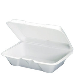 Genpak, 20500, Hinged Carry-Out Container, White, Foamed Polystyrene, Easy Front Tab Closure, 1 Compartment