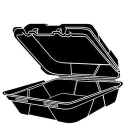 Genpak, SN240-3L, Hinged Carry-Out Dinner Container, Black, Foamed Polystyrene, Stacking Rims on All Sizes, 1 Compartment