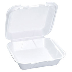 Genpak, SN240, Hinged Carry-Out Dinner Container, White, Foamed Polystyrene, Stacking Rims on All Sizes, 1 Compartment
