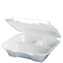 Genpak, SN203, Hinged Carry-Out Dinner Container, White, Foamed Polystyrene, Stacking Rims on All Sizes, 3 Compartment