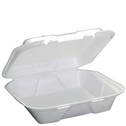 Genpak, SN200, Hinged Carry-Out Dinner Container, White, Foamed Polystyrene, Stacking Rims on All Sizes, 1 Compartment