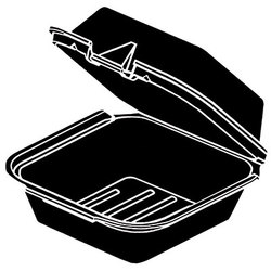 Genpak, SN225-3L, Hinged Carry-Out Container, Black, Foamed Polystyrene, Easy Front Tab Closures, 3 Compartment