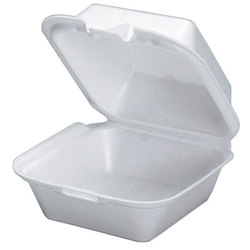 Genpak, SN225, Hinged Carry-Out Container, White, Foamed Polystyrene, Easy Front Tab Closures, 1 Compartment