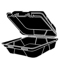 Genpak, SN200-3L, Hinged Carry-Out Dinner Container, Black, Foamed Polystyrene, Stacking Rims on All Sizes, 3 Compartment