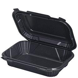Genpak, HP206, Hinged Container, 1 Base, Black, Hybrid Polypropylene