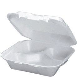 Genpak, SN243, Hinged Carry-Out Dinner Container, White, Foamed Polystyrene, Stacking Rims on All Sizes, 3 Compartment