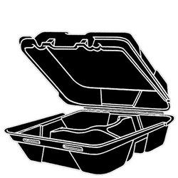 Genpak, SN243-3L, Hinged Carry-Out Dinner Container, Black, Foamed Polystyrene, Stacking Rims on All Sizes, 3 Compartment