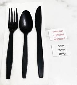 Goldmax Industries, MK7PSB, Cutlery Kit, Contains Fork, Knife, Spoon, 13x13 Napkin, And Salt And Pepper Packets, 6 Items, Black, White