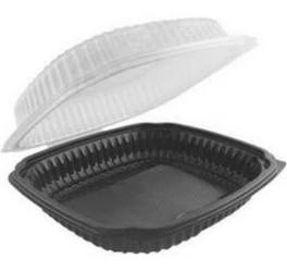Anchor Packaging, Culinary Lites®, 4699610, Hinged Clamshell, 1 Base, Clear Lid, Black Base, #5 Polypropylene