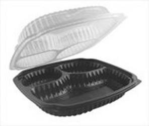 Anchor Packaging, Culinary Lites®, 4699631, Hinged Clamshell, 3 Base, Clear Lid, Black Base, #5 Polypropylene
