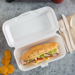 """9 x 6"""" White TFPP Hoagie Container with Hinged Lid"""