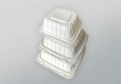 Domo Industry, 883PP1C, Earth Friendly Hinged To-Go Container, White, Polypropylene+CaCo, 8 x 8 x 3 in