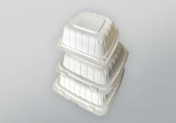 Domo Industry, 963PP1C, Earth Friendly Hinged To-Go Container, White, Polypropylene+CaCo, 9 x 6 x 3 in
