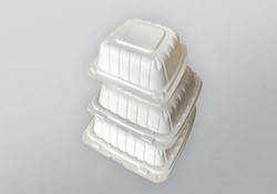 Domo Industry, 663PP1C, Earth Friendly Hinged To-Go Container, White, Polypropylene+CaCo, 6 x 6 x 3 in