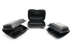 Delta Industries, 963PP1B, Hoagie Hinged Container, Black, Mineral-Filled Polypropylene, 9 x 6 x 3 in