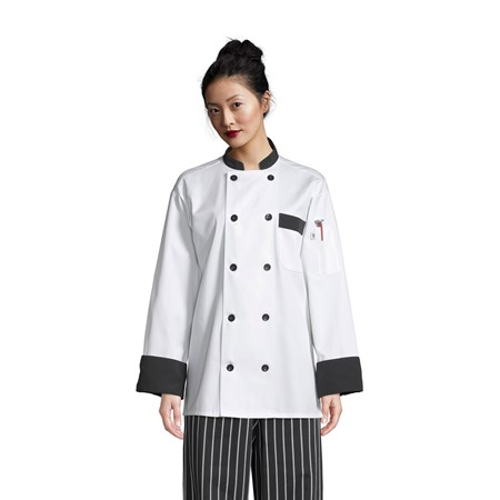 0404 Chef Coat With 10 Black Buttons & Trim