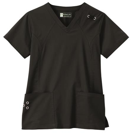 Bio Stretch Ladies Grommet V-Neck Top 19034