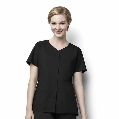 WonderWork Short Sleeve Snap Front Top - 200