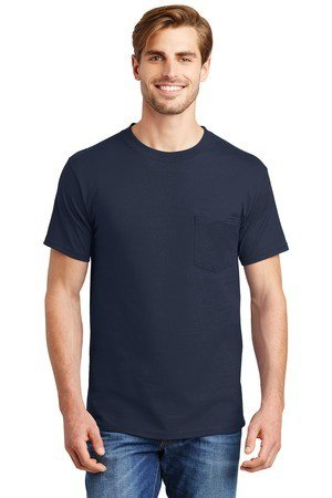 Hanes  Beefy-T  - 100% Cotton T-Shirt with Pocket. 5190