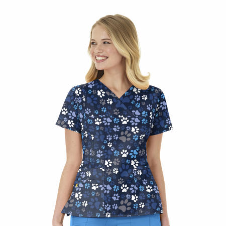 WonderWink Four-Stretch Prints - Y-Neck Multi Pocket Print Top Extended - 6417X