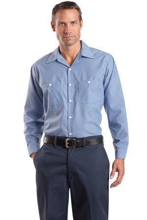 Red Kap Long Size Long Sleeve Striped Industrial Work Shirt. CS10LONG