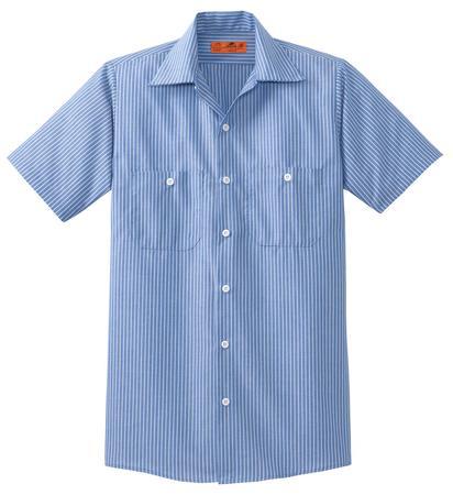 Red Kap Long Size  Short Sleeve Striped Industrial Work Shirt. CS20LONG