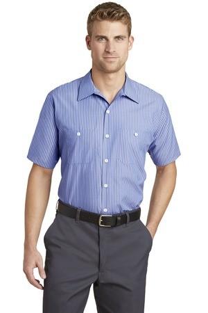 Red Kap Short Sleeve Striped Industrial Work Shirt.  CS20