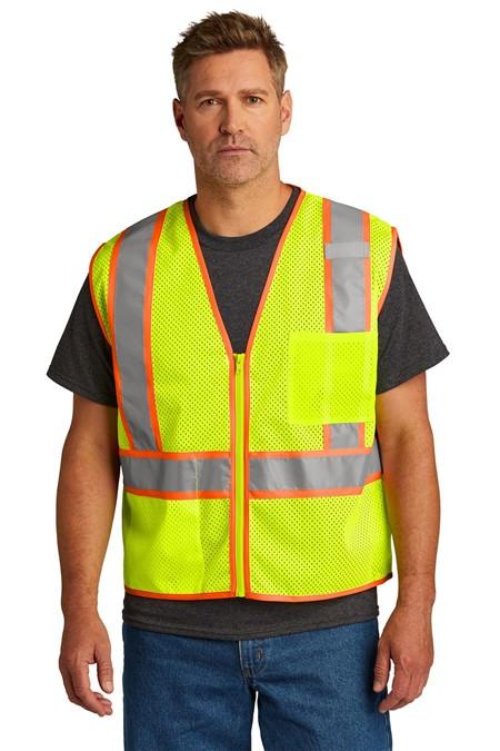 CornerStone  ANSI 107 Class 2 Mesh Zippered Two-Tone Vest. CSV103