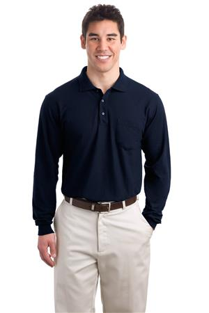 Port Authority - Long Sleeve Silk Touch Polowith Pocket. K500LSP