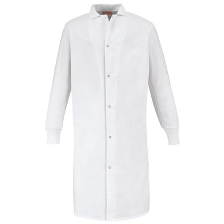 Gripper-Front Spun Polyester Pocketless Butcher Coat with Knit Cuffs - KS60
