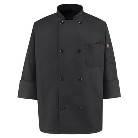 Eight Pearl Button Black Chef Coat - KT76