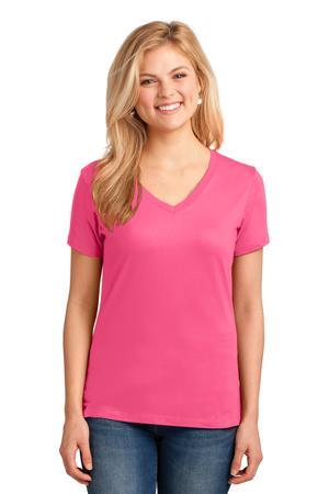 PINK Promo - Port and Company Ladies 5.4-oz 100% Cotton V-Neck T-Shirt. LPC54V