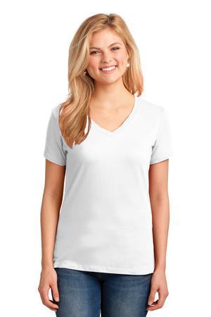 Port and Company Ladies 5.4-oz 100% Cotton V-Neck T-Shirt. LPC54V
