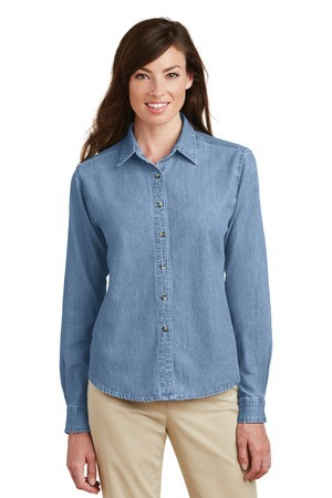 Port & Company - Ladies Long Sleeve Value Denim Shirt.  LSP10