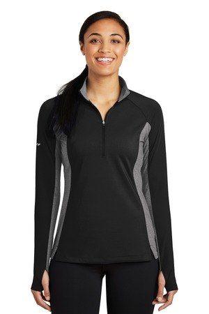 Sport-Tek  Ladies Sport-Wick  Stretch Contrast 1/2-Zip Pullover. LST854