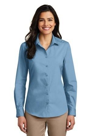 Port Authority Ladies Long Sleeve Carefree Poplin Shirt. LW100