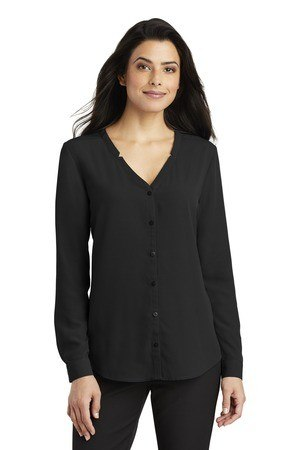 Port Authority Ladies Long Sleeve Button-Front Blouse. LW700