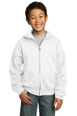 Port and Company - Youth Full-Zip Hooded Sweatshirt. PC90YZH