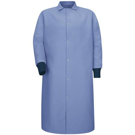 Gripper-Front Spun Polyester Pocketless Butcher Coat with Knit Cuffs KS60LB