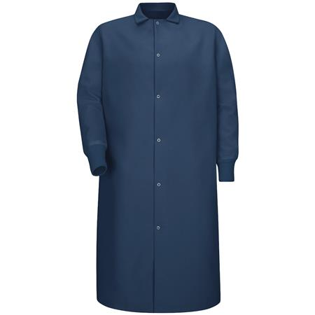 Gripper-Front Spun Polyester Pocketless Butcher Coat with Knit Cuffs KS60NV