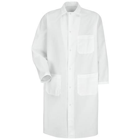 Gripper-Front Spun Polyester Butcher Coat KS62WH